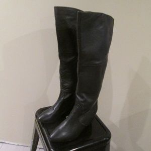 Black Leather knee high wedge Fashion Boots